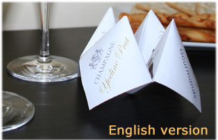 Champagne Cootie catcher or chatterbox in English