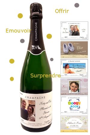etiquette personnalisee pour bouteille de champagne pour mariage naissance anniversaire. Black Bedroom Furniture Sets. Home Design Ideas