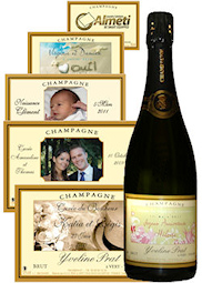 bouteille de champagne peinte avec photo pour mariage. Black Bedroom Furniture Sets. Home Design Ideas