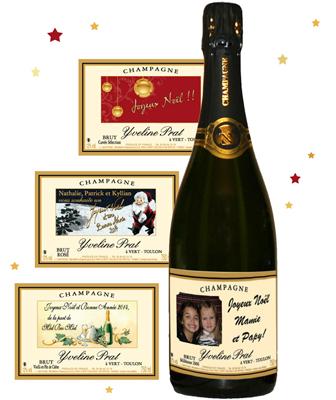 champagne personnalise pour noel et r veillon du nouvel an cadeau original pour noel. Black Bedroom Furniture Sets. Home Design Ideas