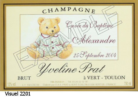 etiquette personnalis e pour bouteille de champagne pour un cadeau de naissance un bapt me. Black Bedroom Furniture Sets. Home Design Ideas