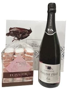 Coffret champagne et biscuits roses