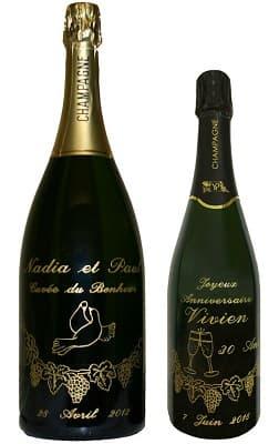Bouteille De Champagne Gravee Pour Mariage Cadeau