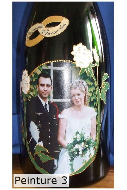 Bouteille de champagne peinte avec photo pour mariage - Peinture couleur champagne ...