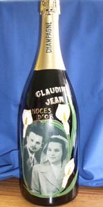 Bouteille de champagne peinte avec photo pour mariage naissance anniversaire cadeau - Combien de coupe dans une bouteille de champagne ...
